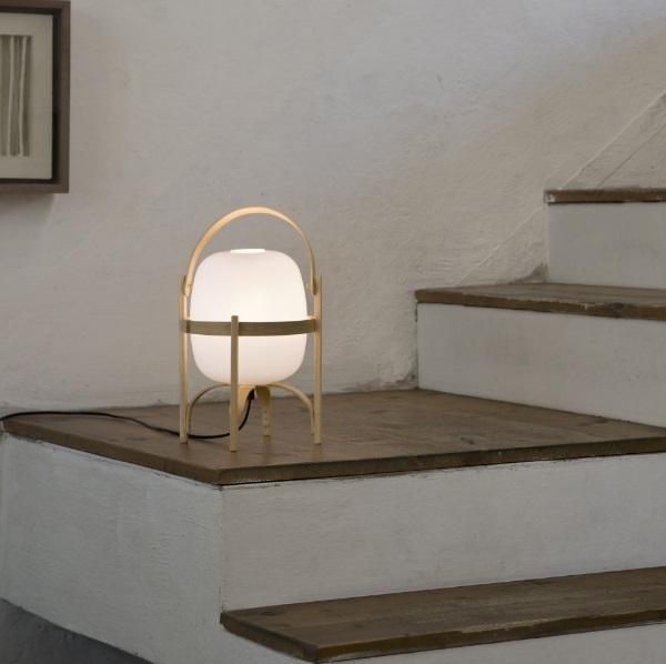 Cestita Lampada da tavolo LED 6W - Paralume polímero técnico bianco opale