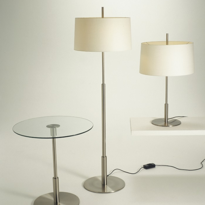 Diana (Solo Structure) Lampe de table 25x78cm E27 2x20w - Nickel Satin
