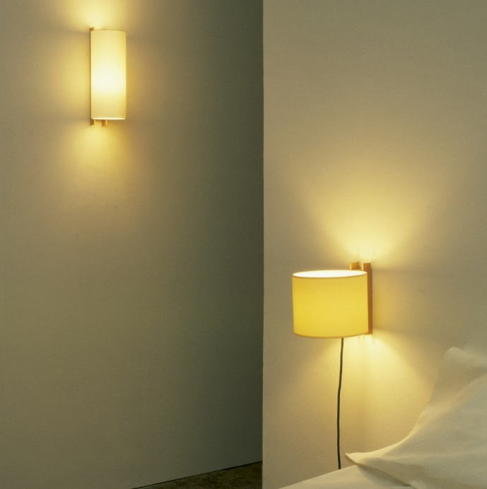TMM short Wall Lamp E27 60W connection with clavija - lampshade cartulina white