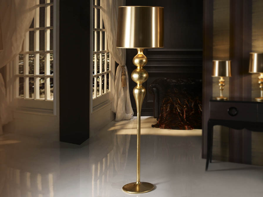 Lena lámpara of Floor Lamp 1L Gold