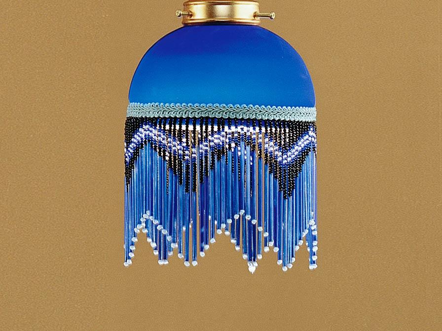 Lluvia Suspension 2L oxyde forge + abat-jour frange Bleu