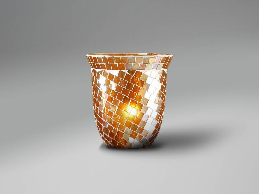 Zafire Colgante Pequeña 1L Óxido Fragua + tulipa Cúpula Mosaico Naranja