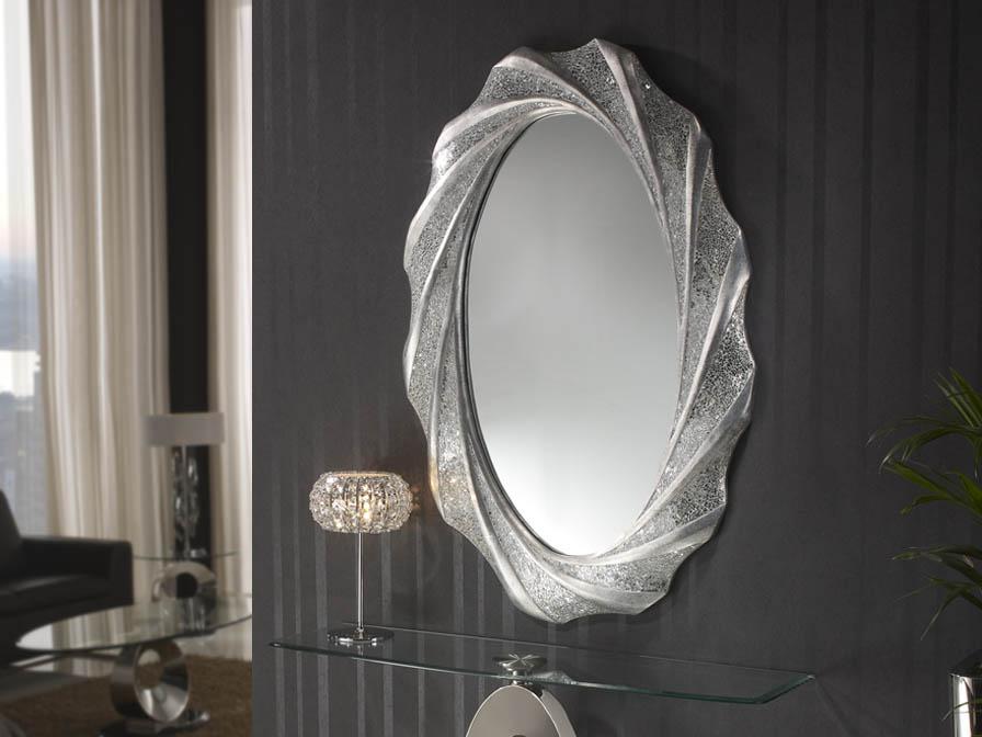 Gaudi miroir ovale 125x84cm - Feuille d´argent
