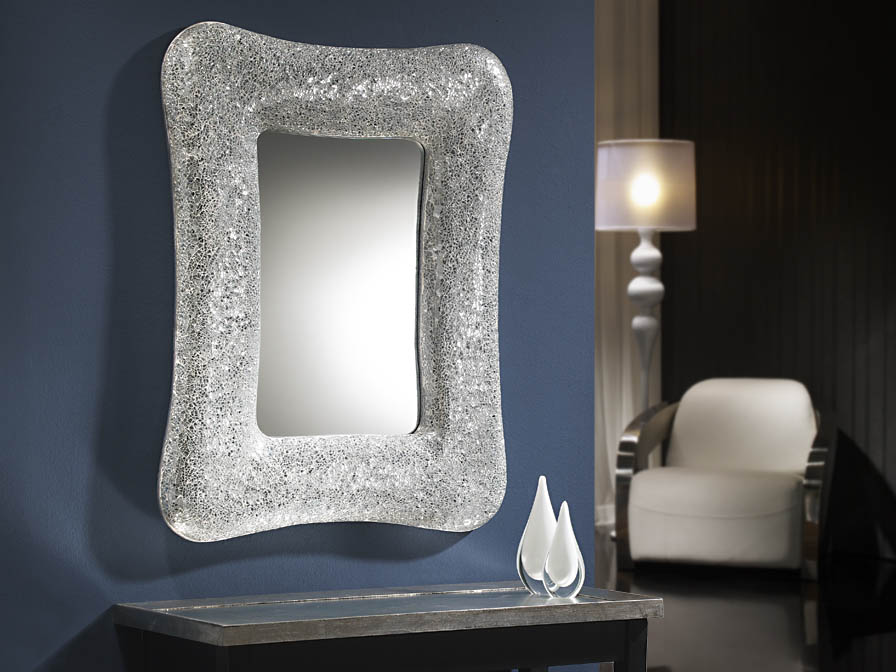 Gaudi espejo rectangular Mosaico Plata