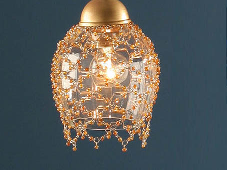 Lluvia Pendant Lamp 3L polished gold + lampshade net trinkets