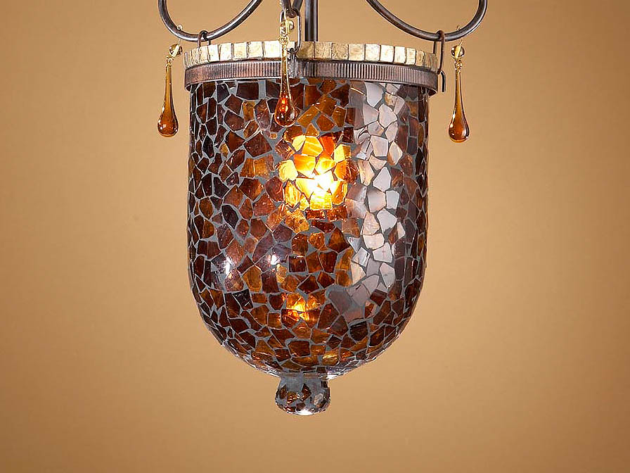 Accessory lampshade mosaic Glass Brown/Oro Small