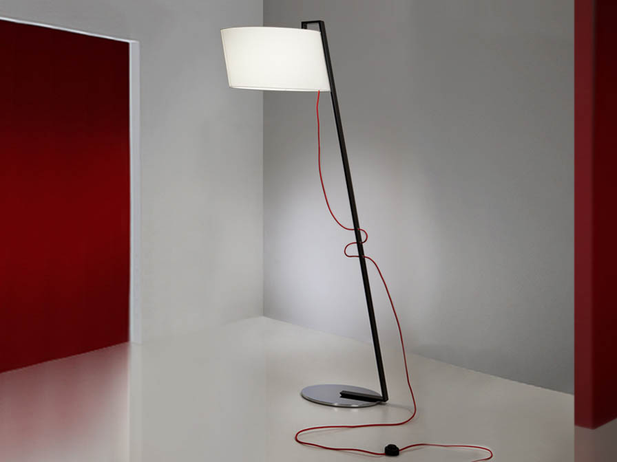 Flow lámpara de Lampadaire 1L Noir Brillo + abat-jour blanc