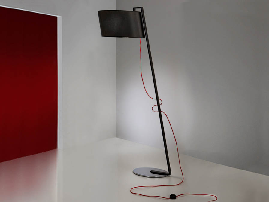 Flow lámpara de Lampadaire 1L Noir Brillo + abat-jour noir