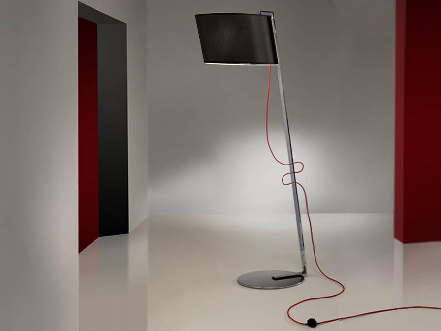 Flow lámpara de Lampadaire 1L Chrome acier Inox + abat-jour noir
