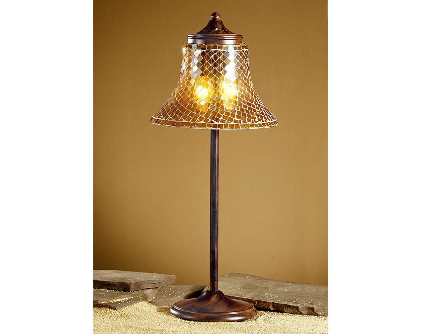 Paris Table Lamp oxide forge + lampshade mosaic Glass orange