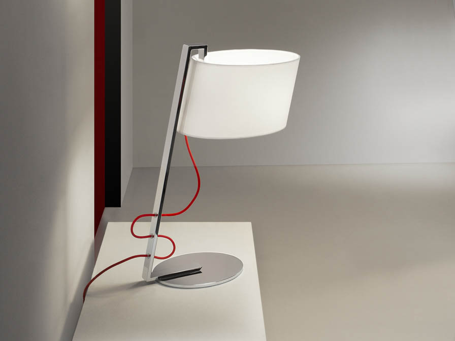 Flow Table Lamp 1L Chrome steel Inox + white lampshade