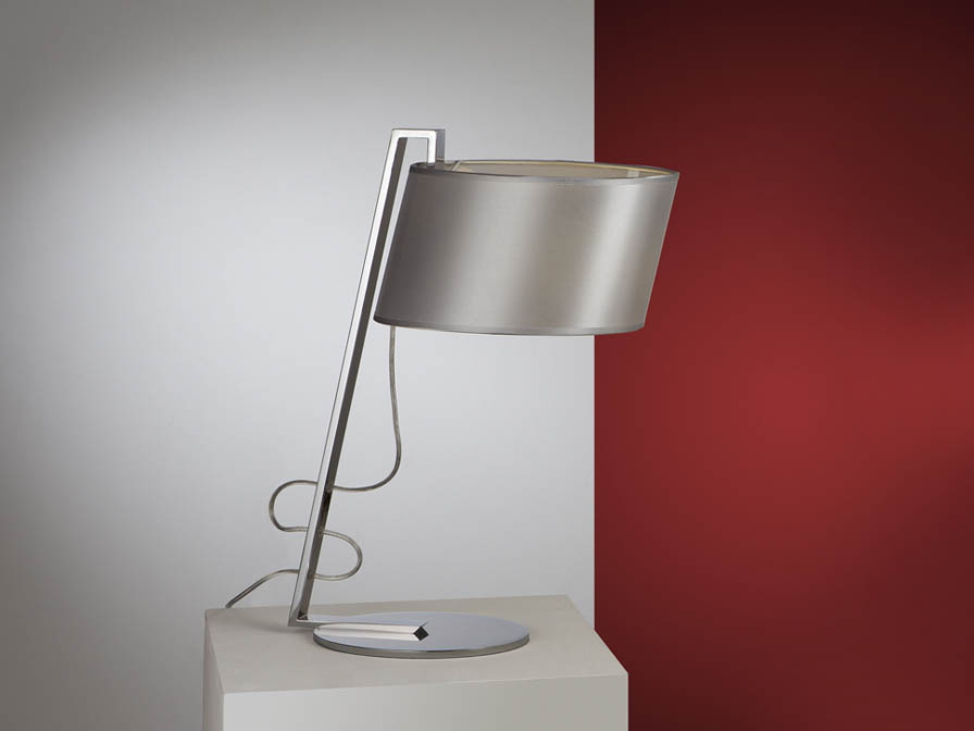 Flow Table Lamp 1L Chrome steel Inox + lampshade Silver