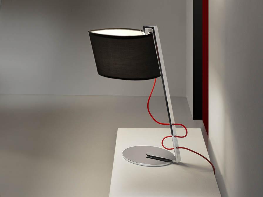 Flow Table Lamp 1L Chrome steel Inox + lampshade black