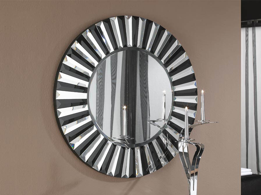 Alberta round glass mirror ø80 Black Biselado