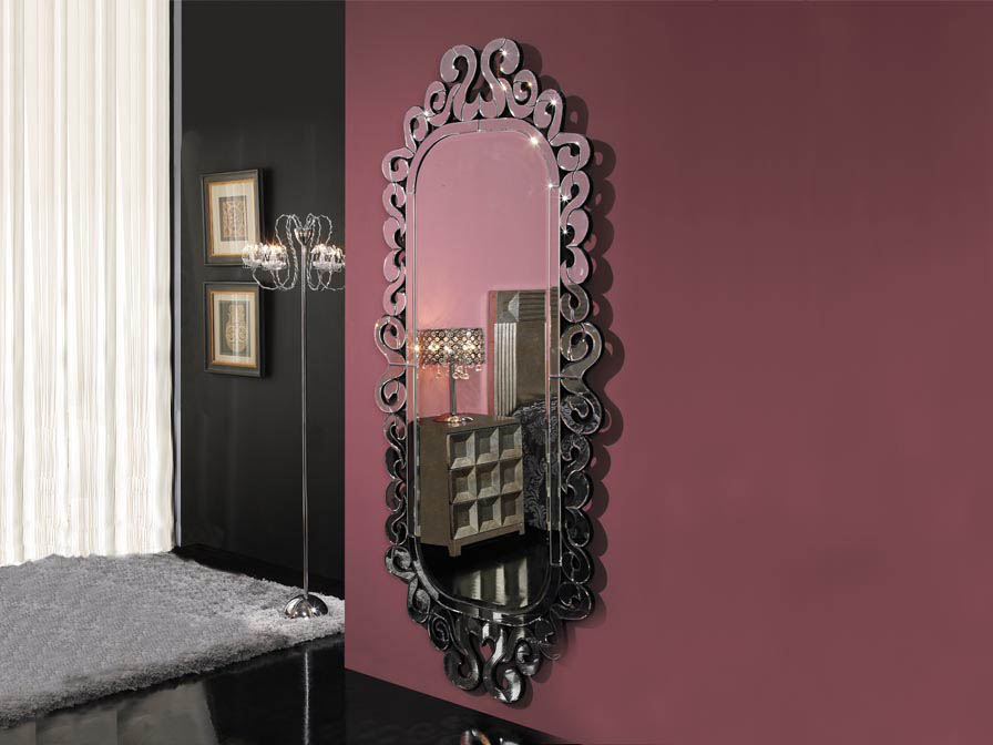 Sorrento mirror Wood Black