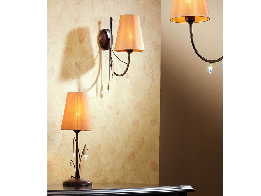 Alanis Table Lamp 1L oxide forge + lampshade Tostado