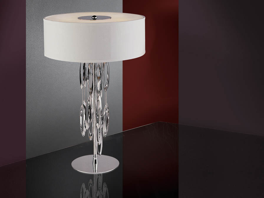 Domo Table Lamp 4L bright chrome + white lampshade