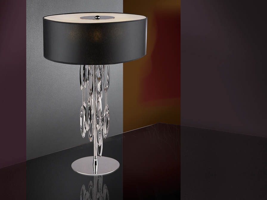 Domo Table Lamp 4L bright chrome + lampshade black