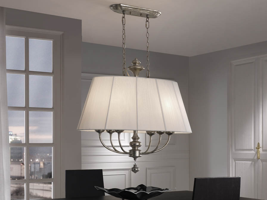 Artemis Pendant Lamp 6xE14 LED 4W oval Silver aged + lampshade Hilo/Vinilo white