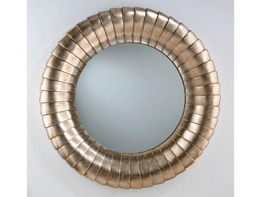 mirror Round Silver Leaf