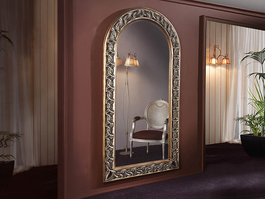 mirror Vertical Framework Tallado Gold Leaf