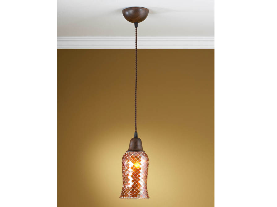 Lluvia Pendant Lamp 1L oxide forge + lampshade Copper thin