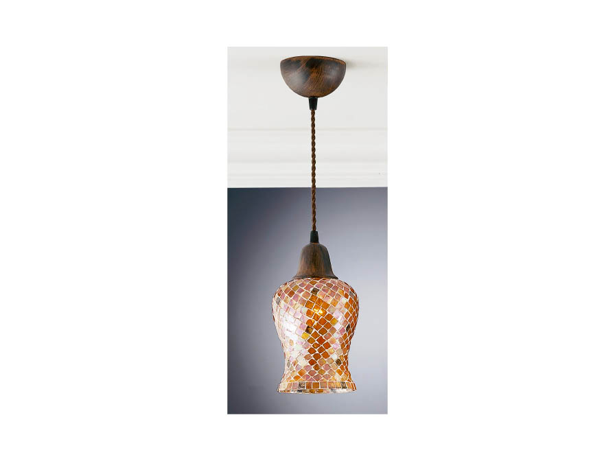 Lluvia Pendant Lamp 1L oxide forge + lampshade Copper