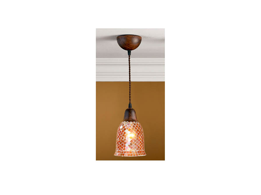 Lluvia Pendant Lamp 1L oxide forge + lampshade mosaic orange
