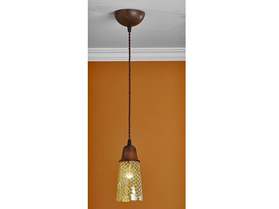 Lluvia Lámpara Colgante 1L Óxido Fragua + tulipa Mosaico Amarillo