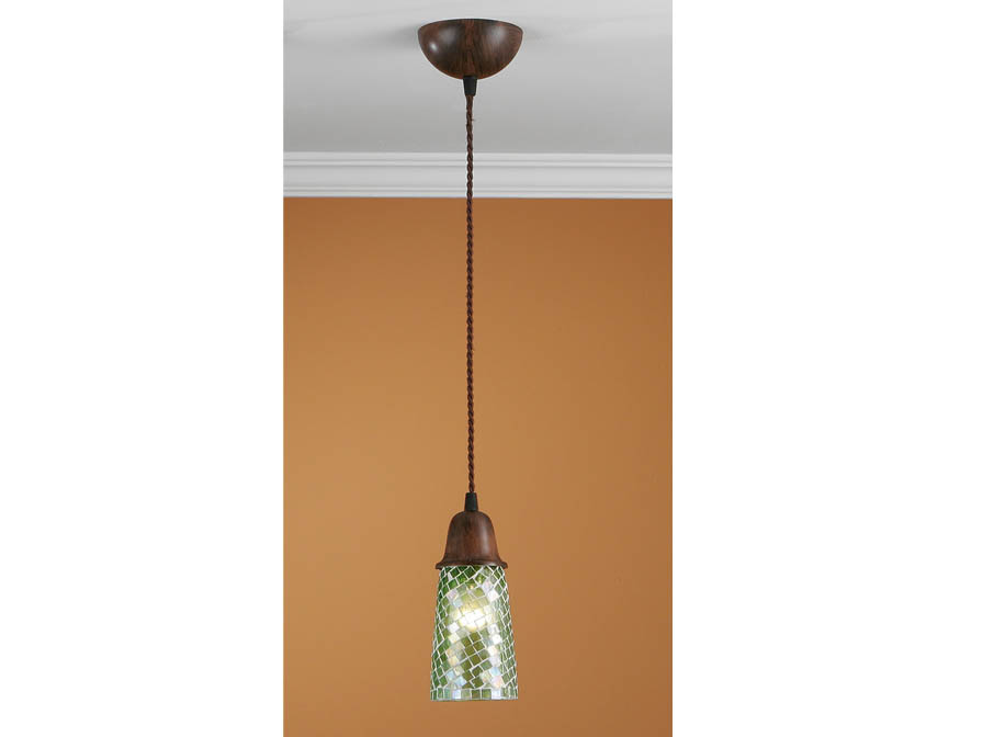 Lluvia Pendant Lamp 1L oxide forge + lampshade mosaic Green