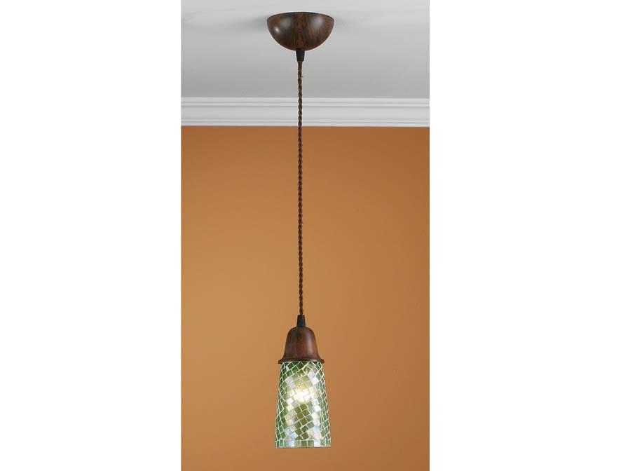 Lluvia Lámpara Colgante 1L Óxido Fragua + tulipa Mosaico Verde