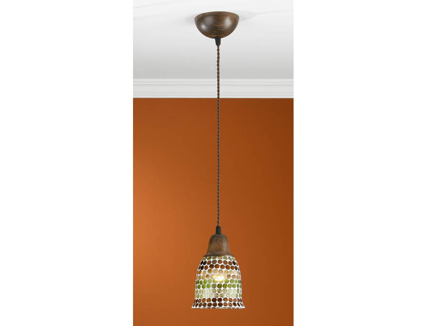 Lluvia Pendant Lamp 1L oxide forge + lampshade mosaic Green/Brown
