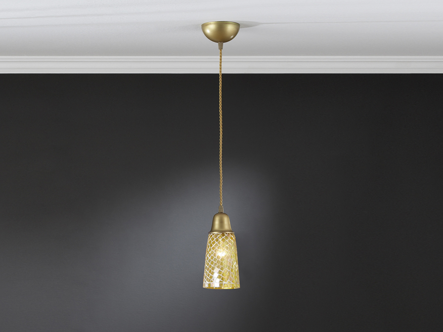 Lluvia Pendant Lamp 1L polished gold + lampshade conical mosaic Yellow
