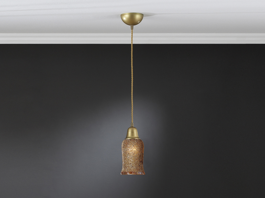 Lluvia Pendant Lamp 1L polished gold + lampshade Black