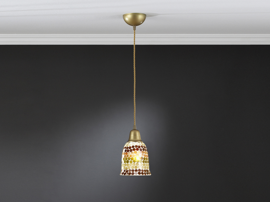 Lluvia Pendant Lamp 1L polished gold + lampshade mosaic Gold/Brown