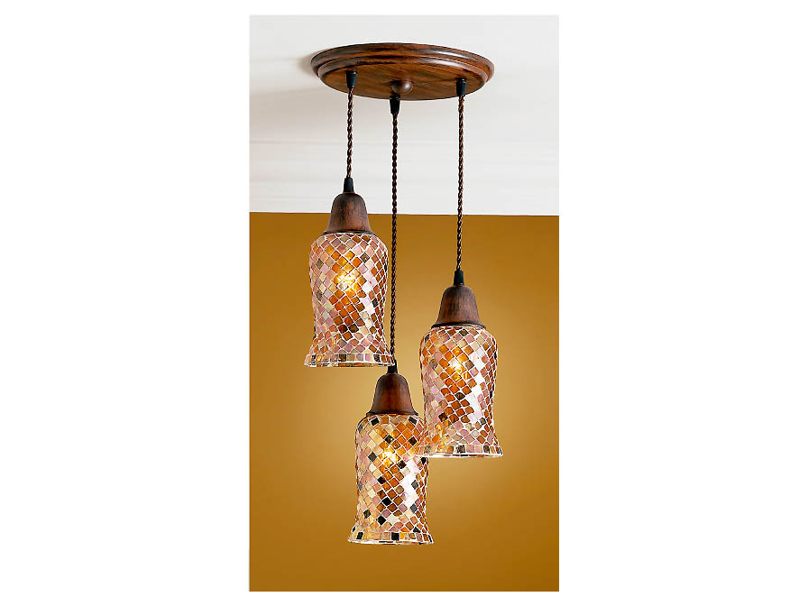 Lluvia Pendant Lamp 3L oxide forge + lampshade Copper thin