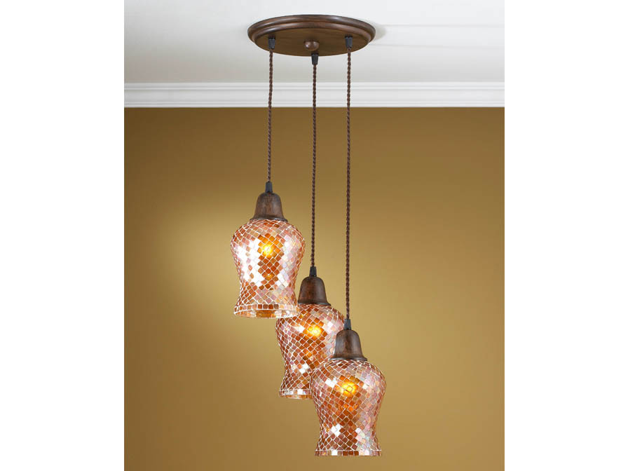 Lluvia Pendant Lamp 3L oxide forge + lampshade Copper