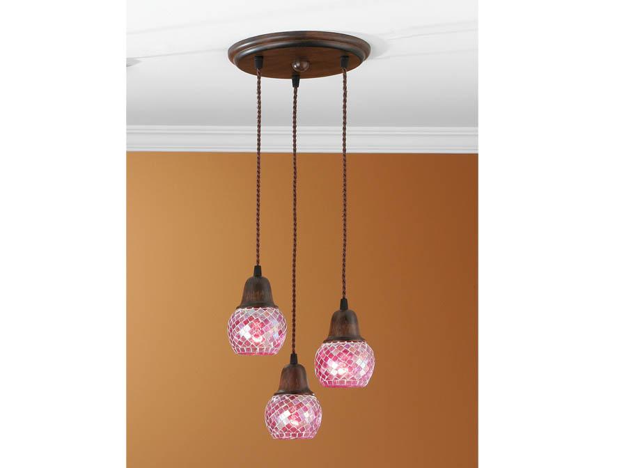 Lluvia Pendant Lamp 3L oxide forge + lampshade mosaic Rosa