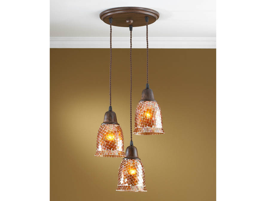 Lluvia Pendant Lamp 3L oxide forge + lampshade mosaic orange