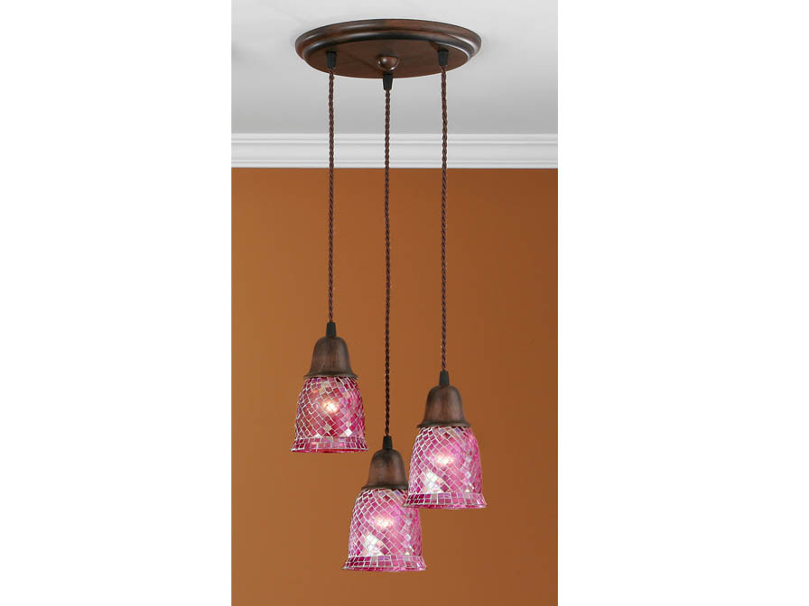Lluvia Pendant Lamp 3L oxide forge + lampshade dome mosaic Rosa