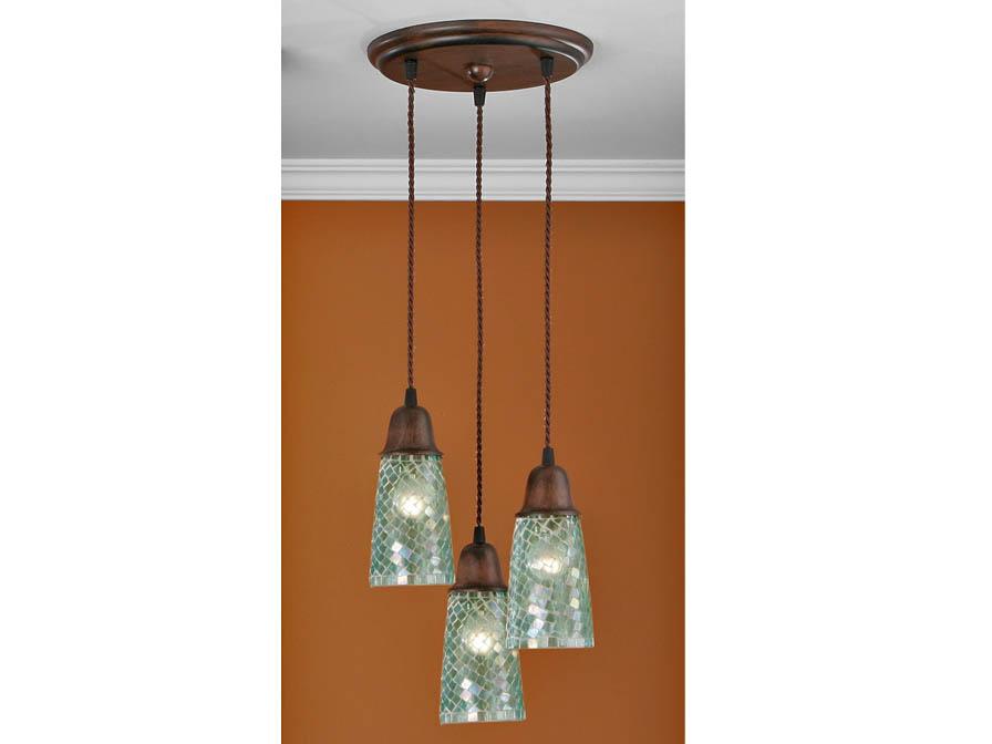 Lluvia Pendant Lamp 3L oxide forge + lampshade conical mosaic Aqua