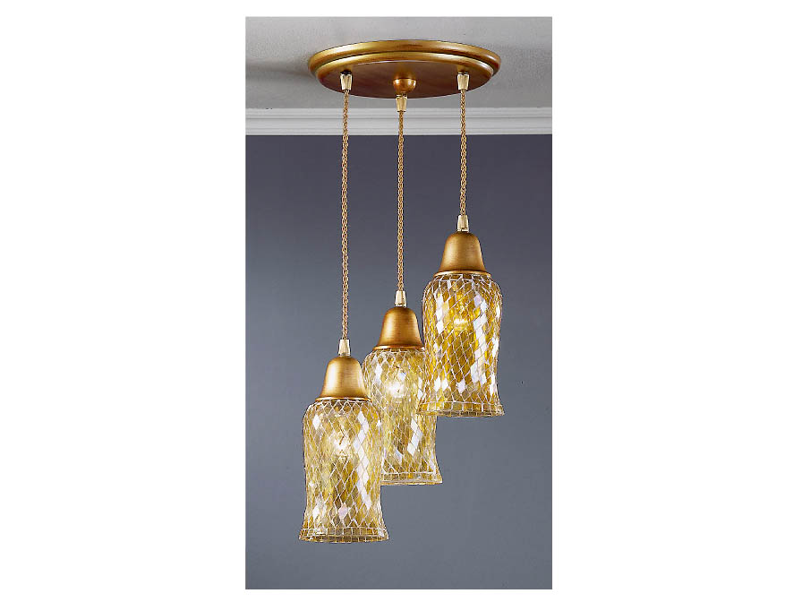 Lluvia Pendant Lamp 3L polished gold + lampshade amarilla