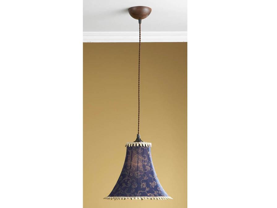 Lámpara Colgante 1L xido Fragua + pantalla Azul con fleco