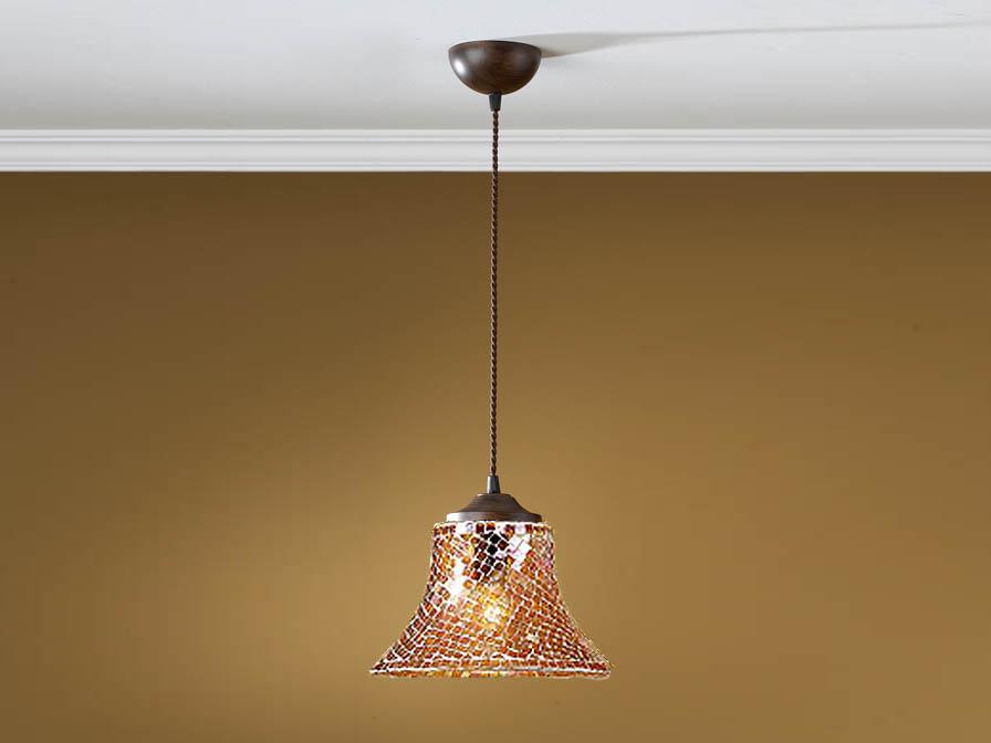 Paris Pendelleuchte 1L oxide forge + lampenschirm Glas mosaik orange