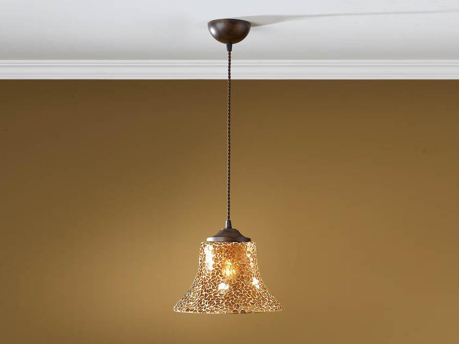 Paris Pendelleuchte 1L oxide forge + lampenschirm Glas mosaik Caldera 25cm