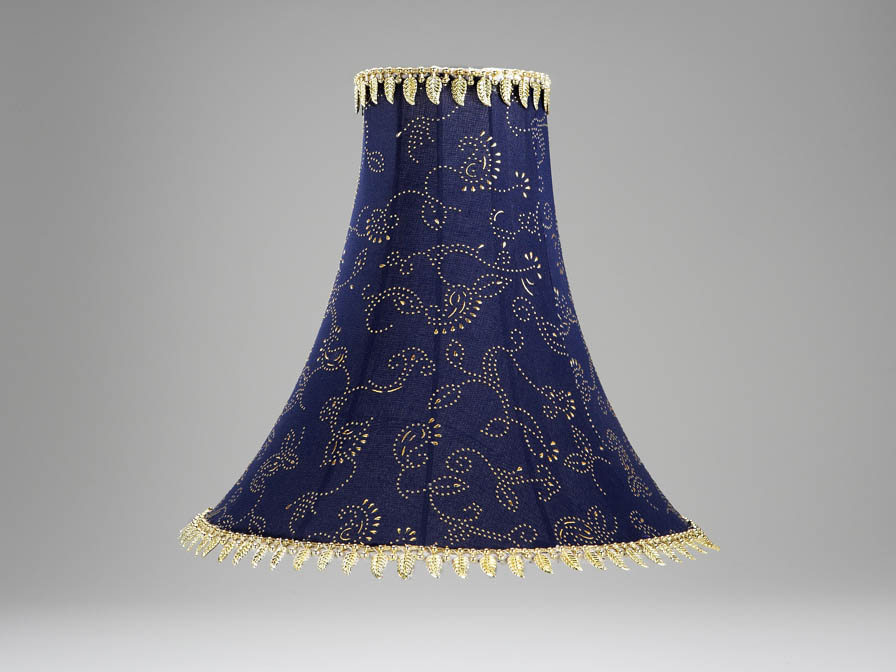 lampshade Blue with fringe 30cm