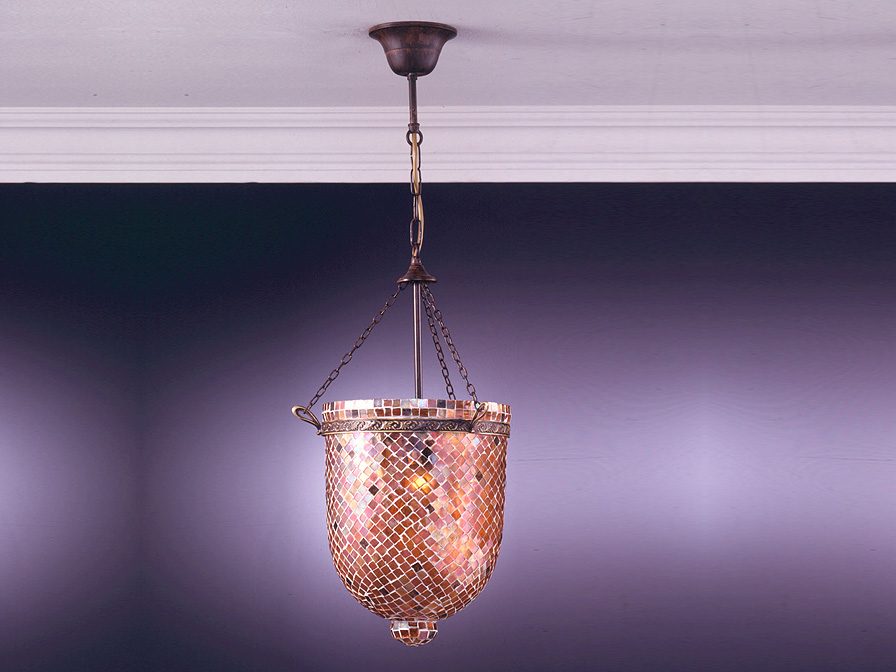 Sorrento Pendant Lamp 1L Óxido Silver + Glass Copper
