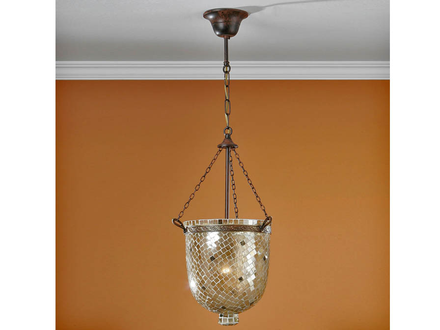 Sorrento Pendant Lamp 1L Óxido Silver + Glass Gold
