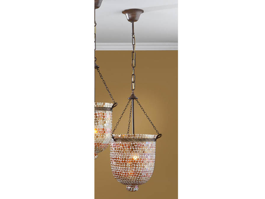 Sorrento Pendant Lamp 1L Óxido Silver + Glass orange