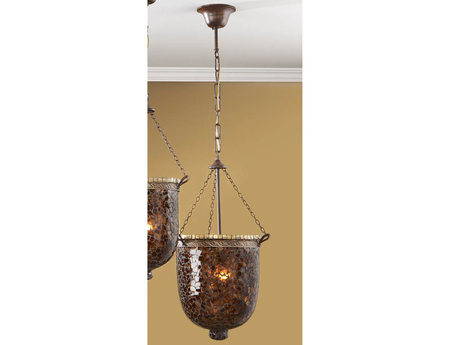 Sorrento Pendant Lamp 1L Óxido Silver + Glass Brown/Oro
